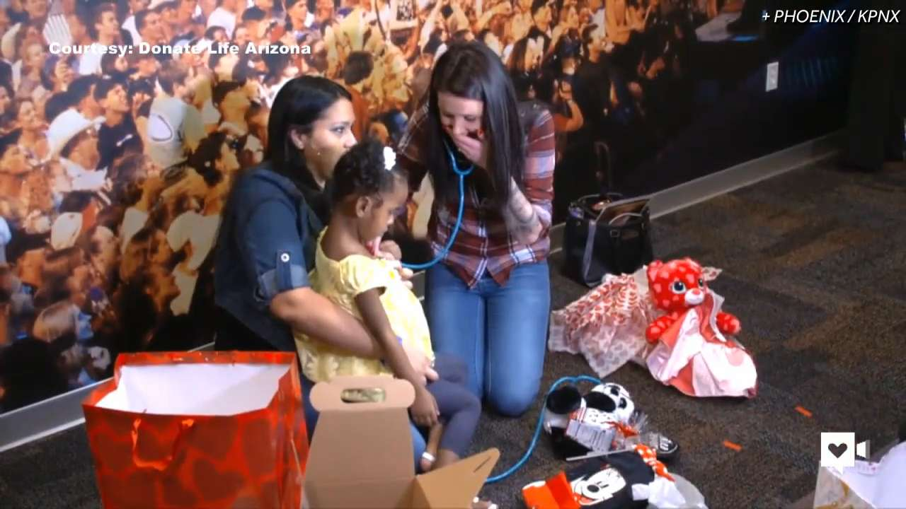 Mom hears son's donated heart beat in little girl