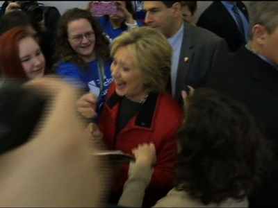 Raw: Clinton Meets Voters Ahead of Caucus