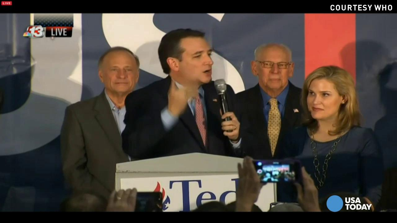 Ted Cruz delivered his victory speech after winning the Iowa caucus vote, crediting volunteers and voters for his 'grassroots' campaign.