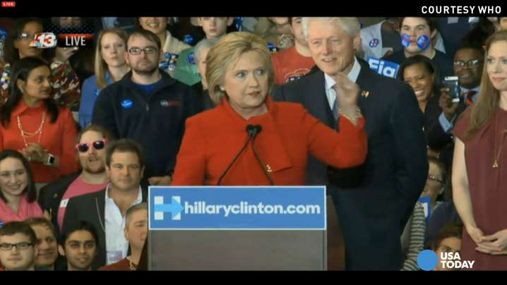 """Democratic candidate Hilary Clinton said she will stand against the Republican effort to """"rip us away from the progress we've made"""" during a speech after the Iowa caucuses."""