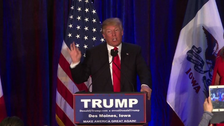 Donald Trump concedes to Ted Cruz in the Iowa Caucuses, but vows he will go on to get the Republican nomination. Video provided by AFP