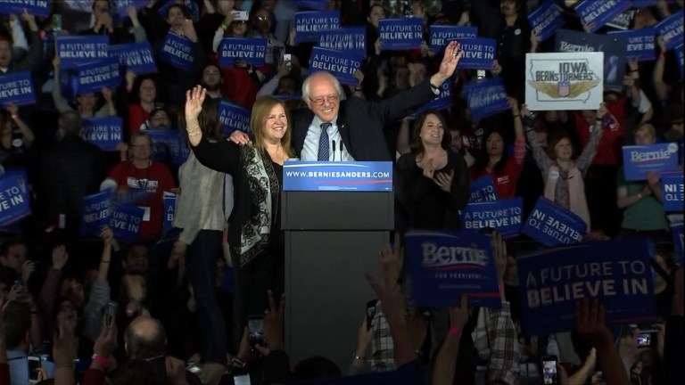 Vermont senator Bernie Sanders tells his supporters they have started a 'political revolution' after the close of the Iowa caucuses which saw him narrowly lose out to Hillary Clinton Video provided by AFP