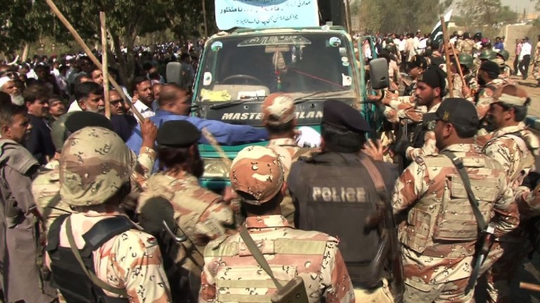 Two demonstrators were shot dead and several more were wounded at Karachi's international airport on Tuesday when clashes broke out between security forces and staff from the national airline protesting privatization plans, officials said.