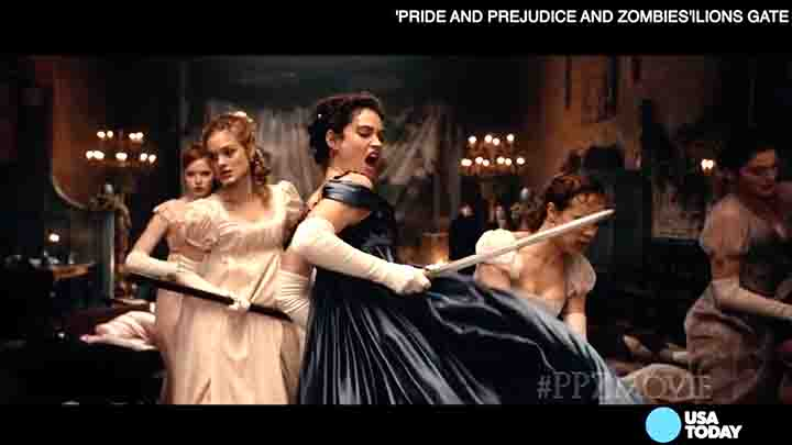 'Pride and Prejudice and Zombies' star Lily James tells USA TODAY's Bryan Alexander about performing the film's stunts and fight sequences.
