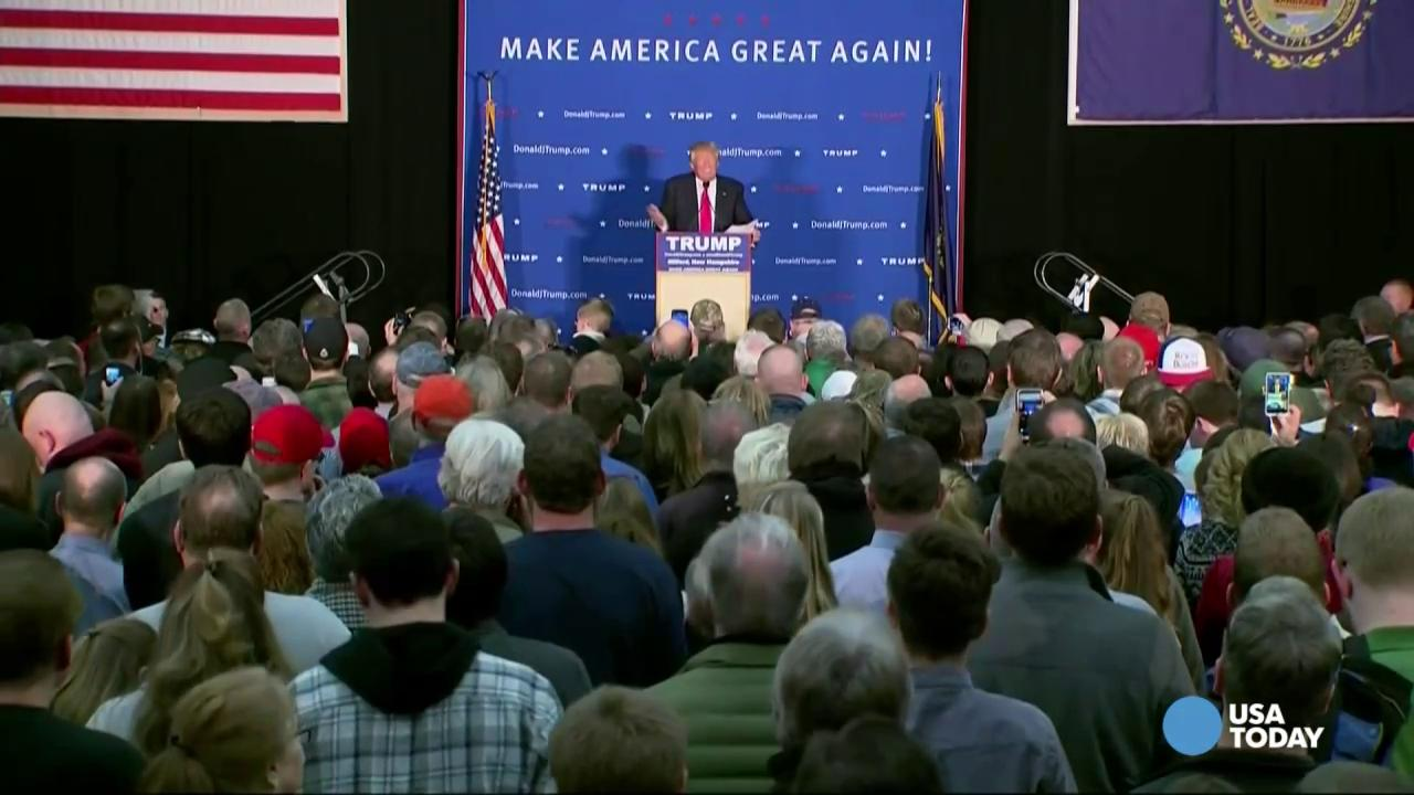 Donald Trump addresses Iowa results at New Hampshire rally