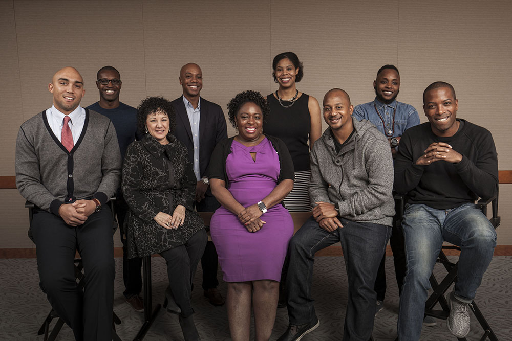 Nine of the top tech diversity advocates in Silicon Valley pose in the USA Today offices in San Francisco on on January 4. Front row (L-R) Brandon Nicholson,  Freada Kapor Klein, Kimberly Bryant, Wayne Sutton, Tristan Walker. Back row (L-R) Makinde Adeagbo, Charles Hudson, Erica Joy Baker, Dr. Kortney Ziegler.