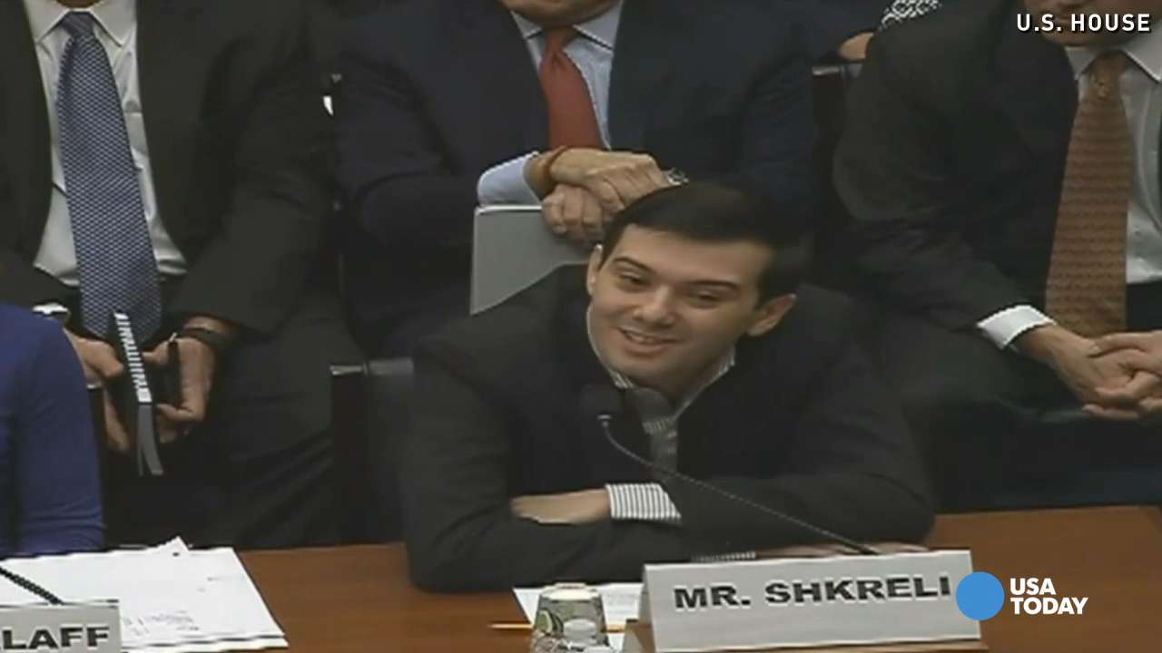 Drug executive Martin Shkreli, who vigorously defends his decision to hike the price of a life-saving drug, went silent and smirked as he appeared at a Congressional hearing on Thursday.