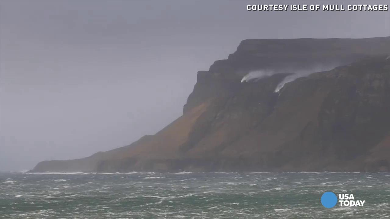 At the Isle of Mull in Scotland, harsh winds turned the stream of two waterfalls upside down. Video courtesy of www.isleofmullcottages.com