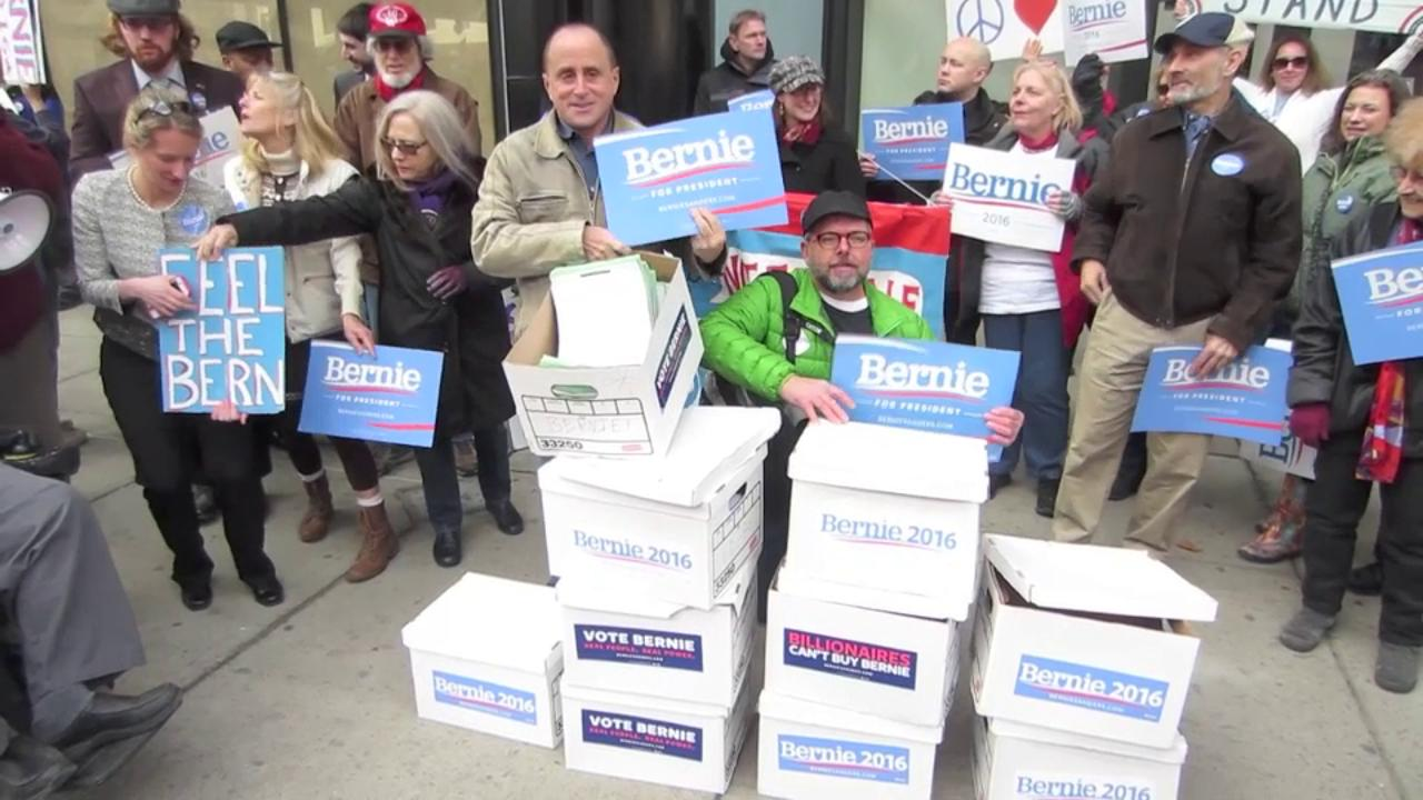 Bernie Sanders supporters submitted 80,000 signatures Feb. 4, 2016, to get the Democratic presidential hopeful on the primary election ballot in New York.