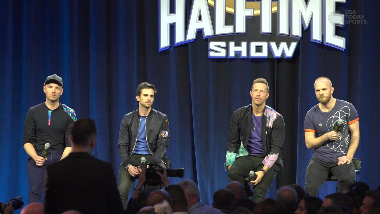 Coldplay remembers Super Bowl halftime shows of years past, and explain why they're picking the 'Denver Panthers' to win Super Bowl 50.