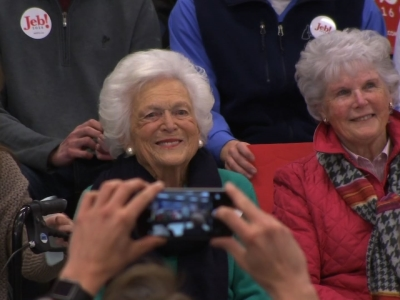 Former First Lady, 90-year-old Barbara Bush joins her son, Jeb, on the presidential campaign trail in New Hampshire. (Feb. 5)