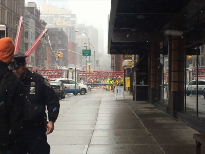 A witness to a massive crane collapse in New York City says he was terrified when he heard the massive structure crash onto a Lower Manhattan street Friday morning. (Feb. 5)