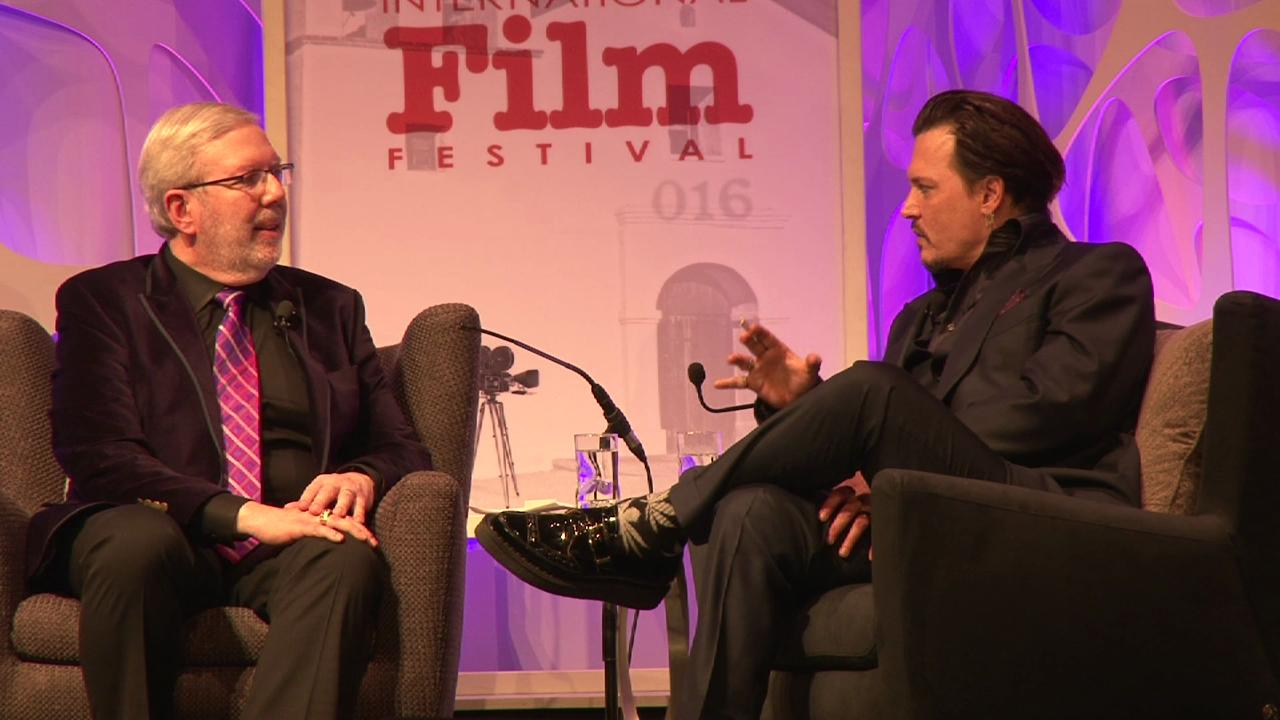 Depp talks disguises while receiving the Maltin Modern Master award from the Santa Barbara Film Festival.