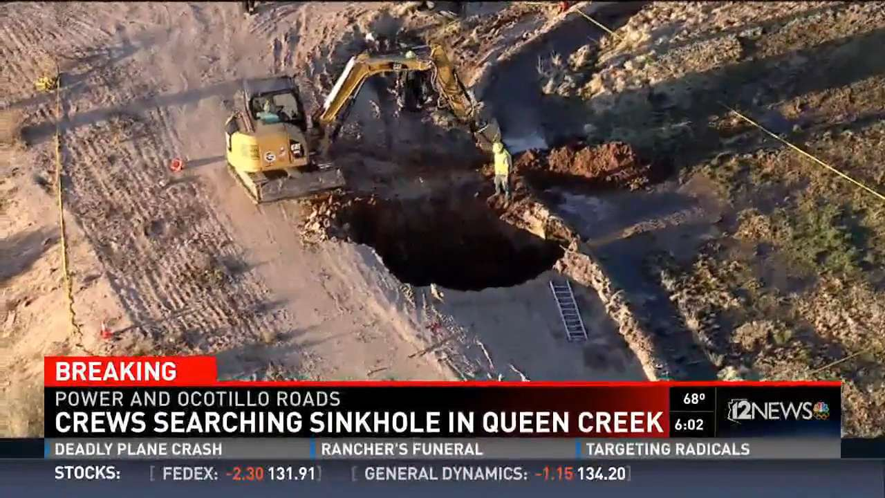 The body of a missing Arizona man has been found inside a sinkhole. Officials believe he was swallowed up while walking back to his vehicle. The hole is about 50 feet wide and at least 15 feet deep.
