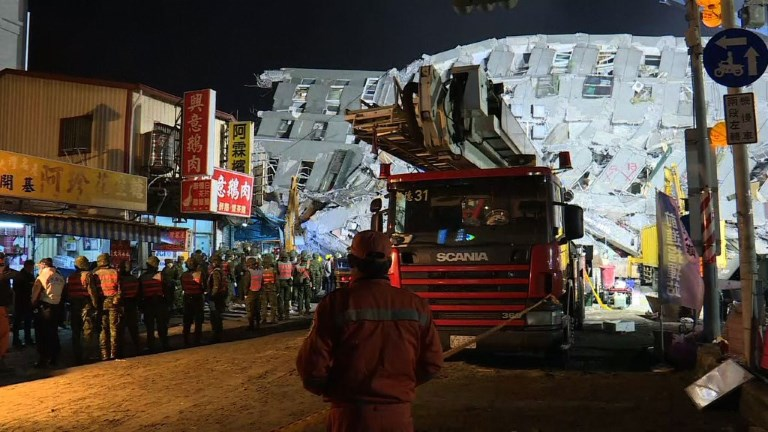 Relatives of residents trapped in a 16-storey apartment complex felled by a powerful earthquake in Taiwan that killed 14 people are praying for miracles as rescuers seek survivors, with more than 150 missing in the quake zone. Video provided by AFP