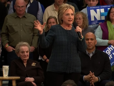 Hillary Clinton says America's history is about rising and knocking down barriers and she's asking New Hampshire voters to bring both their heads and their hearts to Tuesday's primary. (Feb. 6)