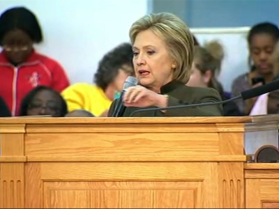 Despite trailing in polls in New Hampshire, presidential candidate Hillary Clinton stopped by a church in Flint, Michigan, to spotlight the water situation in the city. (Feb. 7)