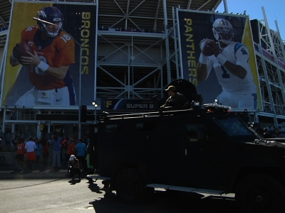 Security was heavy and visible Sunday around Levi's Stadium in Santa Clara as Denver Broncos and Carolina Panthers fans arrived for the Super Bowl. (Feb. 7)