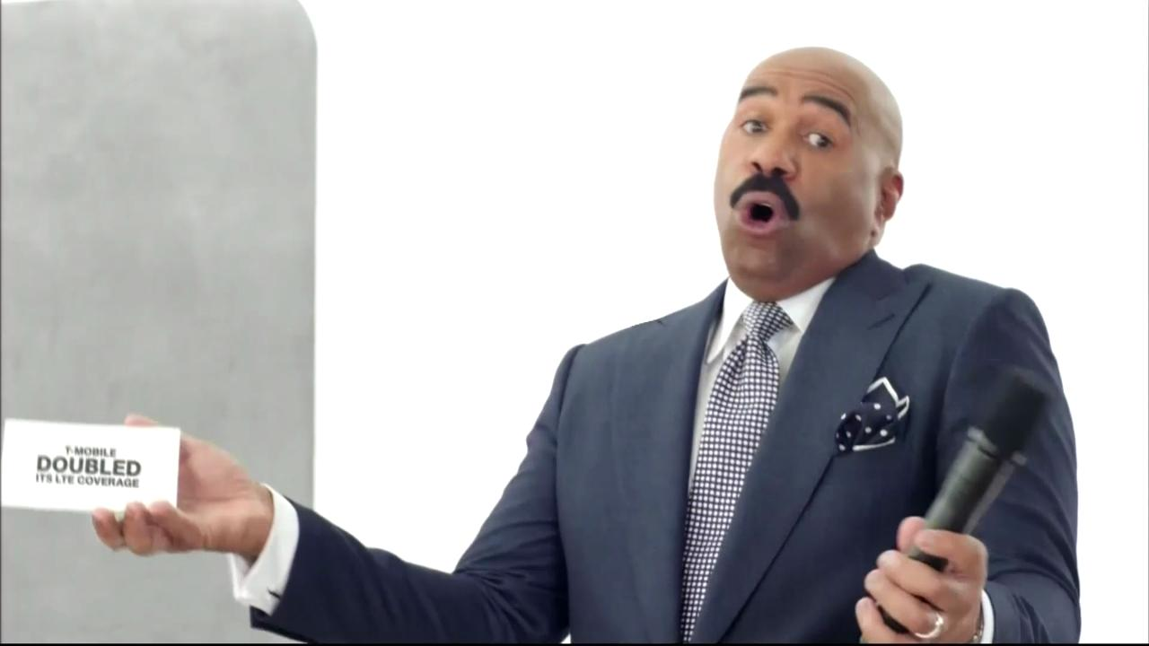 Steve Harvey pokes fun of his controversial Miss Universe slip-up in this T-Mobile Super Bowl 50 commercial.
