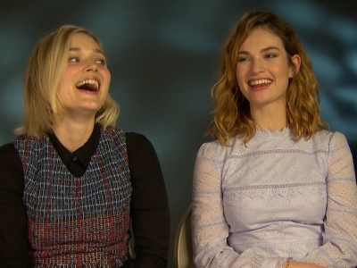 Stars of new genre mash-up film 'Pride and Prejudice and Zombies,' Lily James and Bella Heathcote, talk about doing a training bootcamp and fighting in corsets. (Feb. 8)
