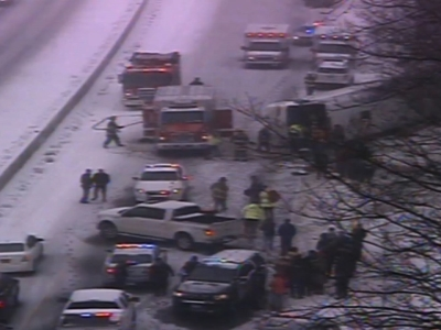 A charter bus on its way from New York city to the Mohegan Sun casino crashed during a snowstorm Monday in Connecticut, leaving at least 30 people injured, several critically, and closing the northbound side of Interstate 95 in Madison. (Feb. 8)
