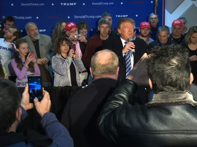 Republican presidential candidate Donald Trump says that tomorrow's primary election in New Hampshire will be 'something special' as he comes to the end of a 'beautiful journey' in the Granite State. (Feb. 8)