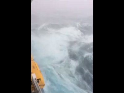 Battered by waves 30 feet high and howling winds on Sunday, a Royal Caribbean cruise ship is turning around and sailing back to its home port in New Jersey in New Jersey. (Feb. 8)