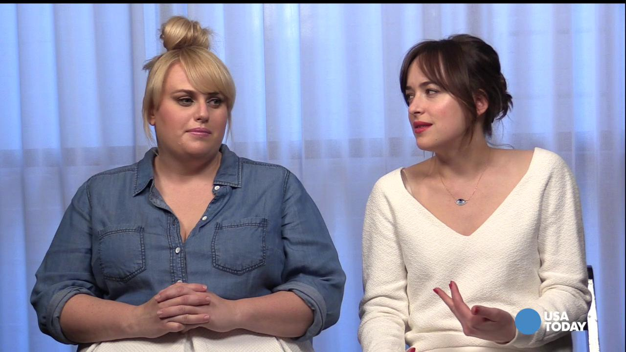 Dakota Johnson and Rebel Wilson discuss dating with USA TODAY's Andrea Mandell.