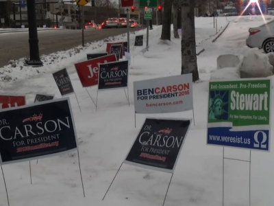Snow fell steadily across New Hampshire on the final full day of campaigning before Tuesday's first-in-the-nation primary. (Feb. 8)