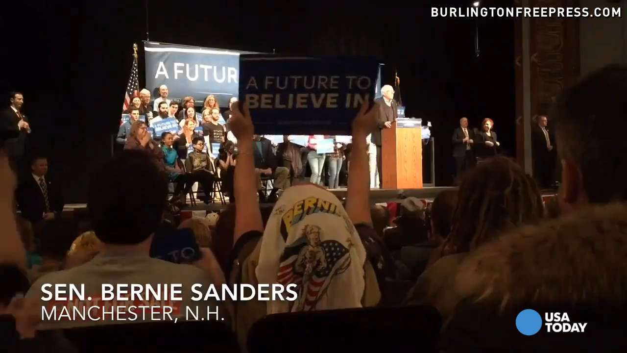 Bernie Sanders talks about wages and education while campaigning in New Hampshire just before the state's primary election.