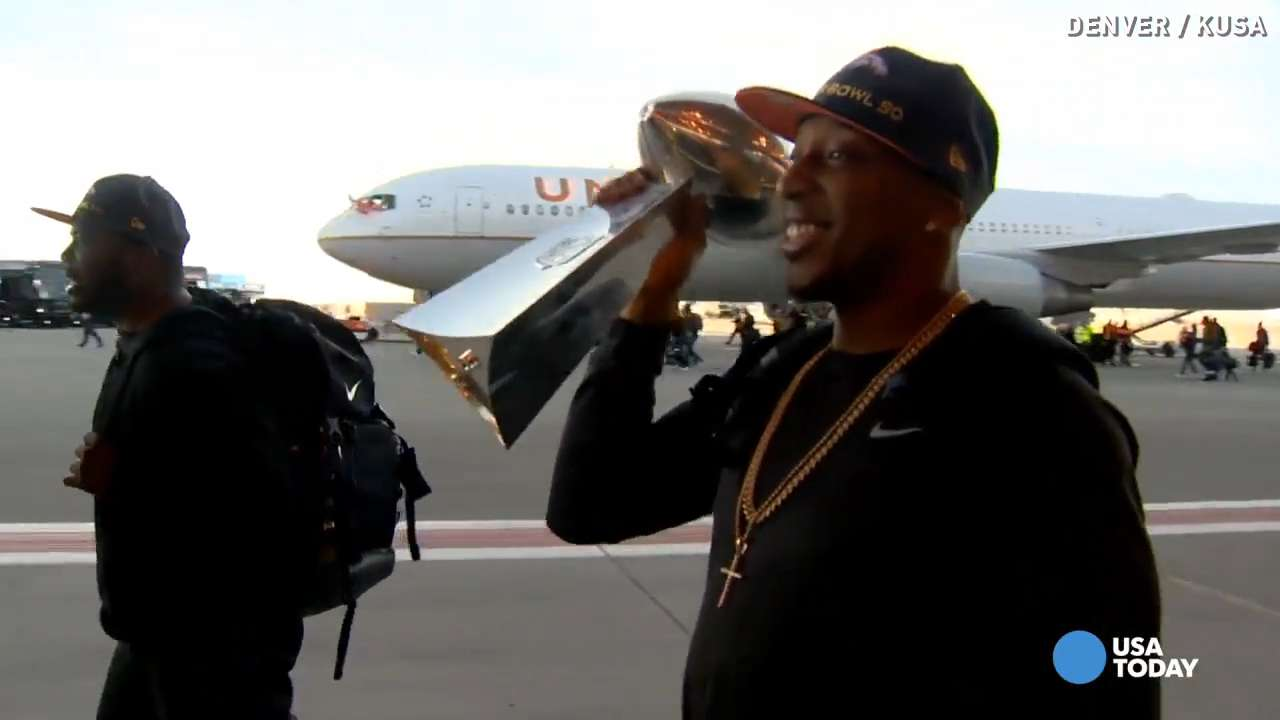The World Champion Denver Broncos arrived back in Colorado less than a day after winning Super Bowl 50.