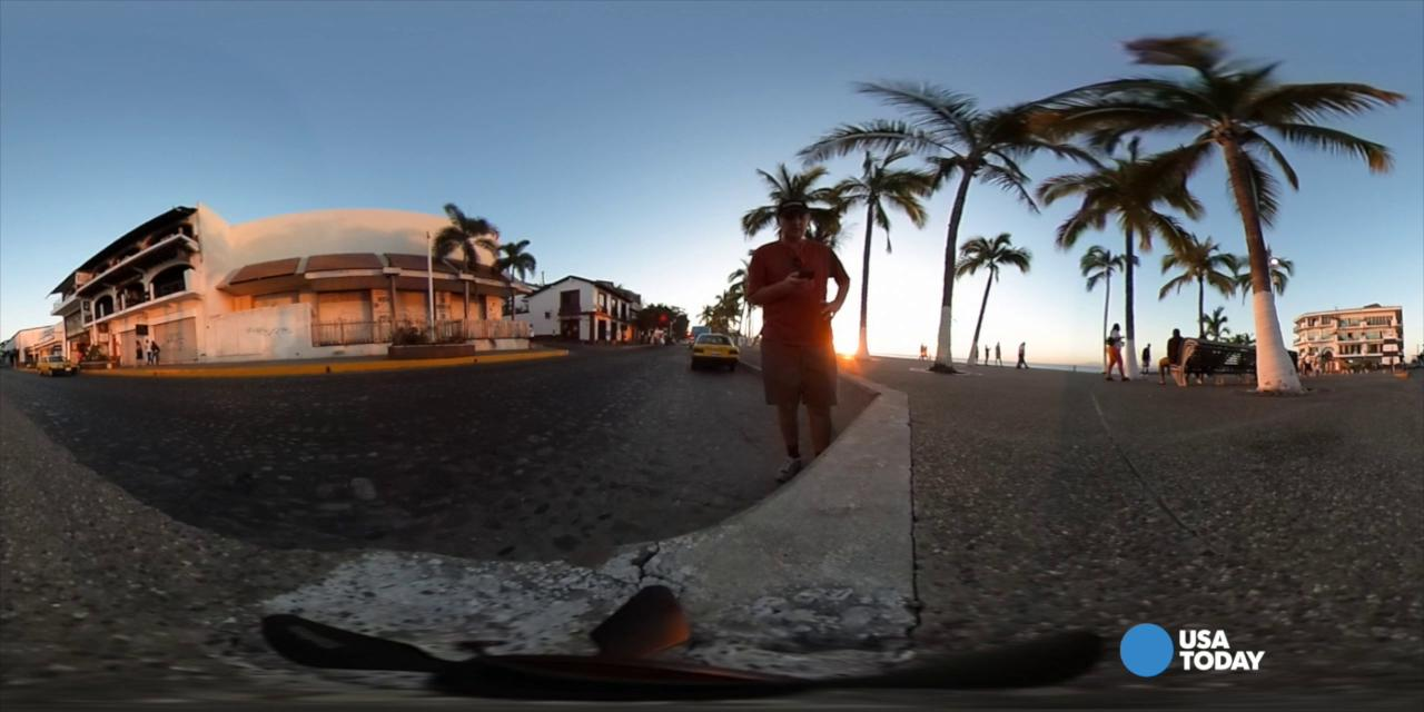 You've seen them on Facebook and YouTube--Jefferson Graham shows how to shoot 360 video and photos with consumer virtual reality, spherical view cameras.