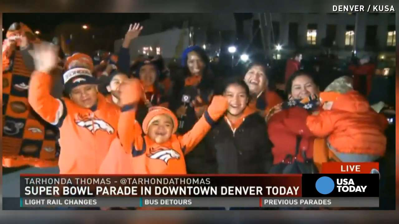 Broncos fans wait hours in cold before parade