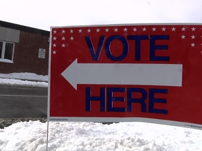 Voters in Nashua, New Hampshire cast their ballots in the nation's first primary contest. Many of them heading to the ballot booth still weighing which candidate to support. (Feb 9.)