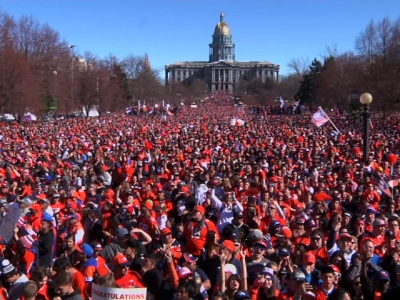 Tens of thousands of people lined the streets of downtown Denver for a victory parade for the Super Bowl champion Denver Broncos. (Feb. 9)