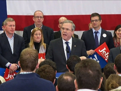 "Jeb Bush thanked his supporters for a strong finish in New Hampshire telling them they have ""reset the race."" He said the Republican party needs someone transparent and tested to beat Hillary Clinton, adding, ""I'm that guy."" (Feb. 9)"