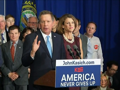 Republican Ohio Gov. John Kasich grabbed second in New Hampshire after pouring nearly all of his campaign resources into the state. In the midst of a heated primary campaign, Kasich has prided himself on not attacking his rivals. (Feb. 9)