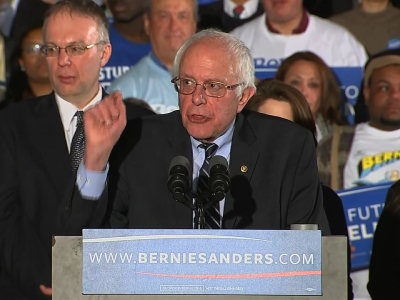 "Bernie Sanders says his victory in New Hampshire sends a message that will ""echo from Wall Street to Washington."" Sanders says he was lifted by ""huge"" voter turnout and he says Democrats will need that excitement to win the general election. (Feb. 9)"