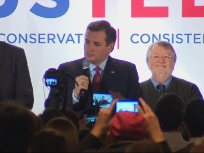 Republican presidential candidate Ted Cruz thanked his supporters in New Hampshire on Tuesday night, after posting a result which he claimed his team has been told was 'impossible'. (Feb. 9)