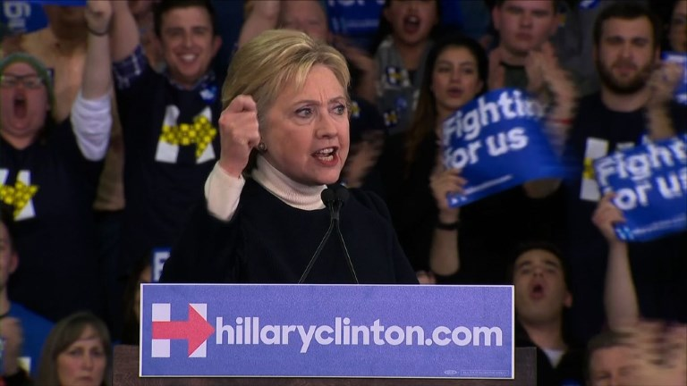 Democratic presidential contender Hillary Clinton addressed supporters in New Hampshire on Tuesday after losing the primary to rival Bernie Sanders. Video provided by AFP