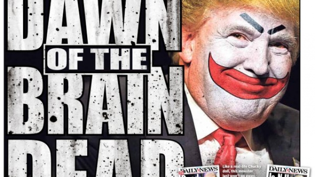 "The New York Daily News' latest cover features Donald Trump's face Photoshopped with clown makeup with the caption ""Dawn of the brain dead."""