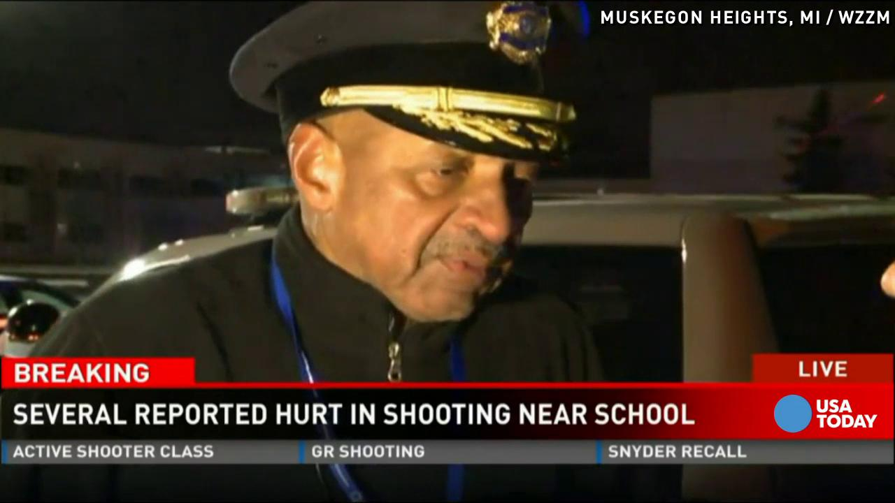 """Several people were hurt in an officer-involved shooting outside a Michigan school. Police say the suspect raised his gun at a deputy. The chief added, """"We tell you to drop the gun, do that. If not, bad things are going to happen to you."""""""