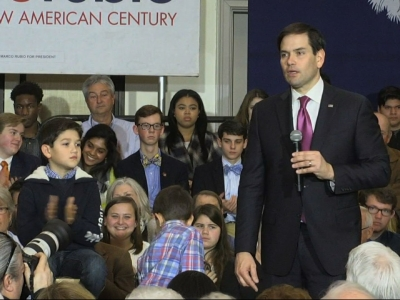 Campaigning in Spartanburg, South Carolina, Marco Rubio shares his vision for America if he's elected president. Rubio comes off a fifth place finish in New Hampshire behind Jeb Bush. (Feb. 10)