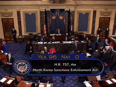 Senate approves harsher sanctions on North Korea