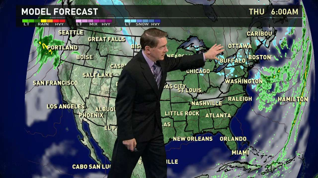 Thursday's forecast: Snow showers across U.S.