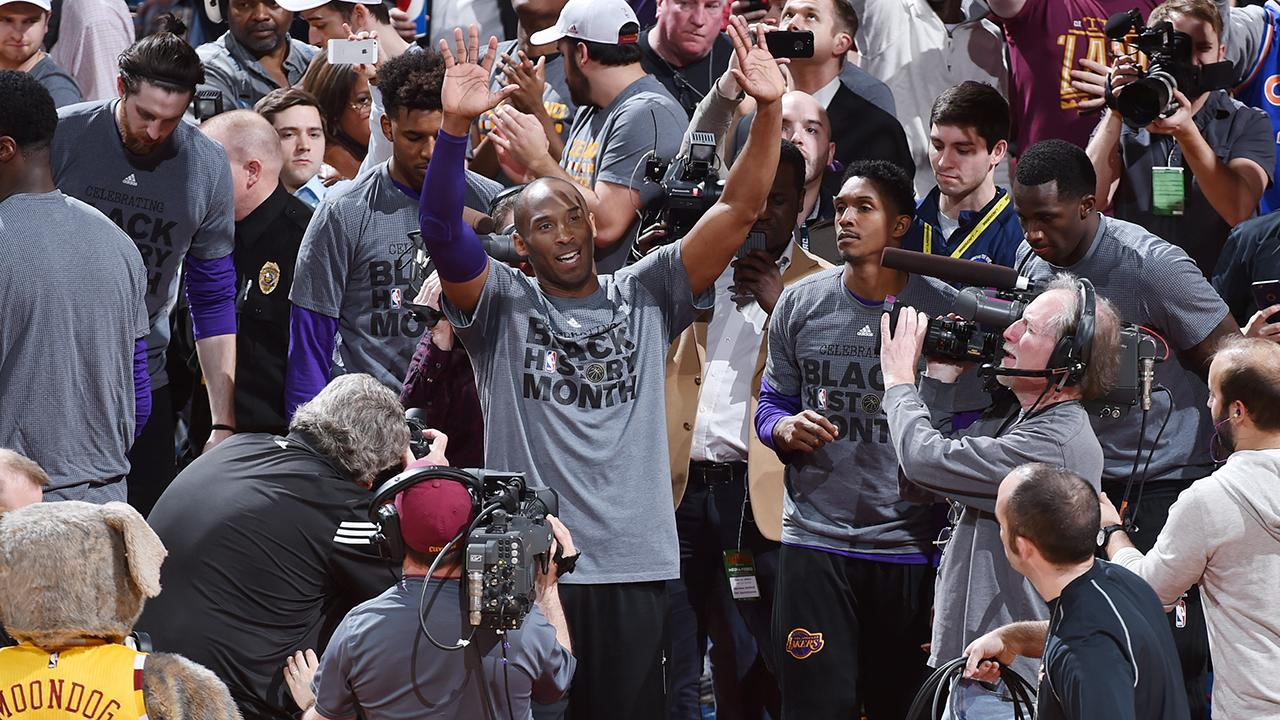 Kobe Bryant played his last game against the Cavaliers in Cleveland and received quite the farewell from the crowd at the Quicken Loans Arena.