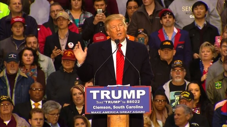 Republican presidential hopeful Donald Trump addresses supporters in South Carolina after a resounding victory in the New Hampshire primary. Video provided by AFP