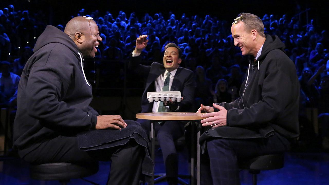 Peyton Manning and Magic Johnson stopped by The Tonight Show on Wedesday to play 'Egg Russian Roulette.'