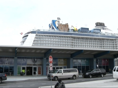 A cruise ship battered by a major storm in the Atlantic Ocean has returned to its New Jersey port. (Feb. 11)