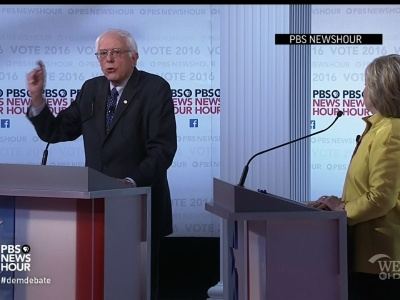 "Hillary Clinton said rival Bernie Sanders should ""level with people"" about the costs and benefits of his health care plan. The two Democratic rivals clashed over health care during Thursday night's debate on PBS. (Feb. 11)"